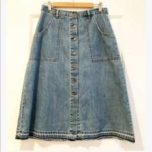 Free People Long Denim Skirt Frayed Bottom Size 8